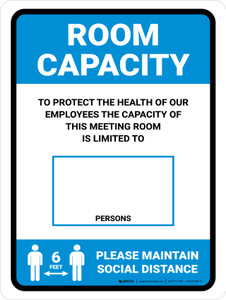 Room Capacity: Maintain Social Distance with Icon Blue Portrait - Wall Sign