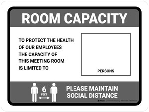 Room Capacity: Maintain Social Distance with Icon Gray Landscape - Wall Sign