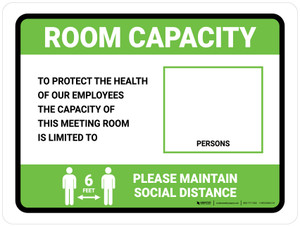 Room Capacity: Maintain Social Distance with Icon Green Landscape - Wall Sign
