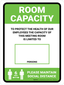 Room Capacity: Maintain Social Distance with Icon Green Portrait - Wall Sign