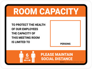 Room Capacity: Maintain Social Distance with Icon Orange Landscape - Wall Sign