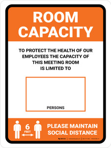 Room Capacity: Maintain Social Distance with Icon Orange Portrait - Wall Sign