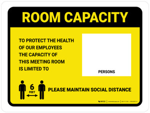 Room Capacity: Maintain Social Distance with Icon Yellow Landscape - Wall Sign