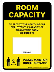 Room Capacity: Maintain Social Distance with Icon Yellow Portrait - Wall Sign