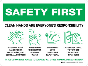 Safety First: Clean Hands Are Everyones Responsibility with Icons Landscape - Wall Sign