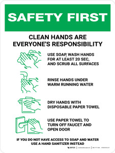 Safety First: Clean Hands Are Everyones Responsibility with Icons Portrait - Wall Sign