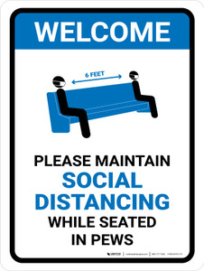 Welcome: Please Maintain Social Distancing In Pews with Icon Portrait - Wall Sign