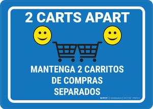 2 Carts Apart with Emojis Bilingual Blue - Wall Sign
