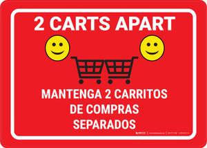2 Carts Apart with Emojis Green Bilingual Red - Wall Sign