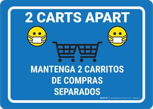 2 Carts Apart with Facemask Emojis Bilingual Blue - Wall Sign