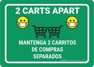2 Carts Apart with Facemask Emojis Bilingual Green - Wall Sign