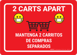 2 Carts Apart with Facemask Emojis Bilingual Red - Wall Sign