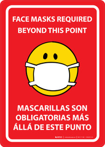 Face Masks Required Beyond This Point Bilingual Emoji Red - Wall Sign