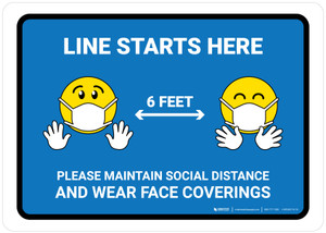 Line Starts Here Wear Face Coverings with Emojis Blue - Wall Sign