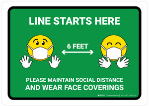 Line Starts Here Wear Face with Emojis Green - Wall Sign