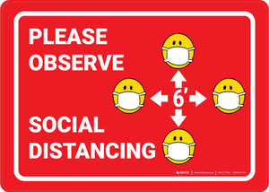 Please Observe Safe Distancing Facemask Emojis Red - Wall Sign