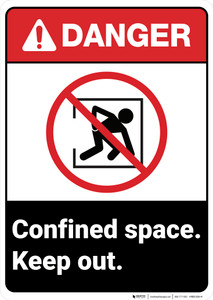 Danger: Confined Space Keep Out ANSI - Wall Sign