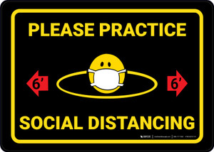Please Practice Social Distancing 6ft with Facemask Emoji Black - Wall Sign