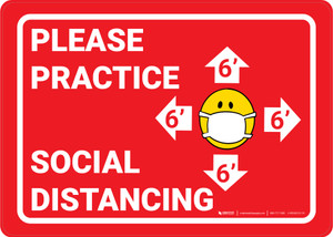 Please Practice Social Distancing Facemask Emojis Red - Wall Sign