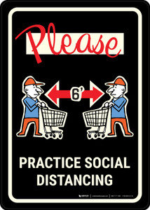 Please Practice Social Distancing with Emoji Shoper Black - Wall Sign