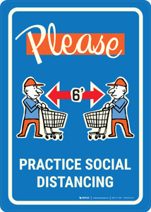 Please Practice Social Distancing with Emoji Shoper Blue - Wall Sign