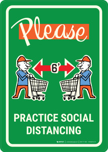 Please Practice Social Distancing with Emoji Shoper Green - Wall Sign