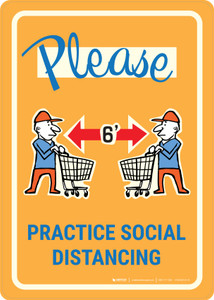 Please Practice Social Distancing with Emoji Shoper Yellow - Wall Sign