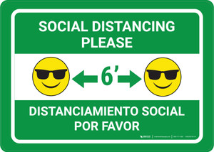 Social Distancing Please Bilingual with Sunglasses Emoji Green - Wall Sign