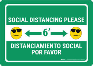 Social Distancing Please with Sunglasses Bilingual Emoji Green - Wall Sign