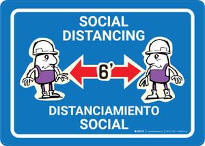 Social Distancing Bilingual with Cartoon Bilingual Blue - Wall Sign