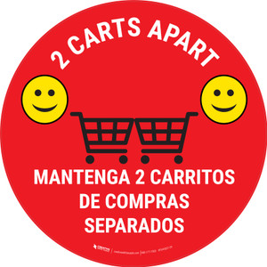 2 Carts Apart with Emojis Bilingual Red - Floor Sign