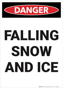 Danger: Falling Snow and Ice Vertical - Wall Sign