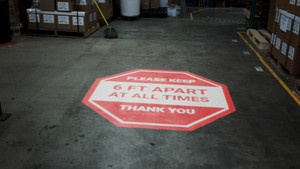 Please Keep 6 Ft Apart At All Times - Thank You - SignCast S200 Virtual Sign