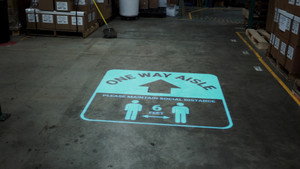 One Way Aisle - Please Maintain Social Distance with Icon Blue - SignCast S200 Virtual Sign
