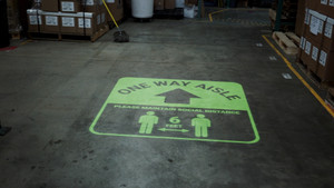 One Way Aisle - Please Maintain Social Distance with Icon Green - SignCast S200 Virtual Sign