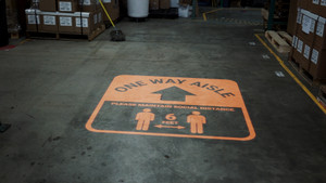 One Way Aisle - Please Maintain Social Distance with Icon Orange - SignCast S200 Virtual Sign