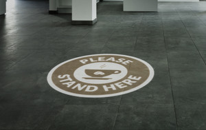 Please Stand Here with Coffee Cup - SignCast S200 Virtual Sign