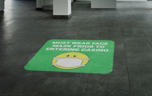 Must Wear Face Mask Prior to Entering Casino - Mask Emoji Green - Slots Emoji Yellow SignCast S200 Virtual Sign