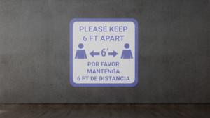 Please Keep 6 Ft Apart Blue Bilingual - SignCast S200 Virtual Sign