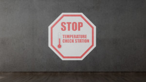 STOP - Temperature Check Station Red - SignCast S200 Virtual Sign