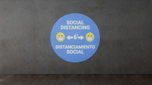 Social Distancing with Facemask Emoji Bilingual Blue - SignCast S200 Virtual Sign