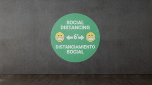 Social Distancing with Facemask Emoji Bilingual Green - SignCast S200 Virtual Sign