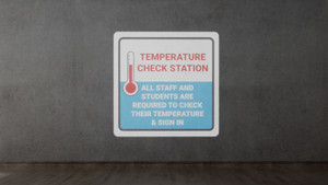 Temperature Check Station Students with Icon - SignCast S200 Virtual Sign