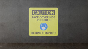 Caution: Face Coverings Required Beyond This Point with Icon - SignCast S200 Virtual Sign