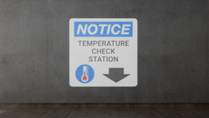 Notice: Temperature Check Station Down with Icon - SignCast S200 Virtual Sign