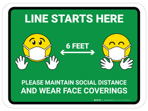 Line Starts Here with Emojis Green - Floor Sign