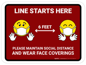 Line Starts Here with Emojis Red - Floor Sign