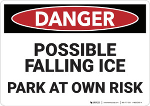Danger: Possible Falling Ice Parking - Wall Sign
