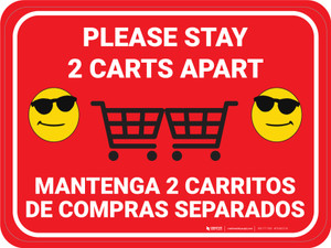 Please Stay 2 Carts Apart Bilingual with Sunglasses Emojis Red - Floor Sign