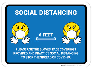Social Distancing Please Use Face Coverings Gloves with Emojis Blue - Floor Signs